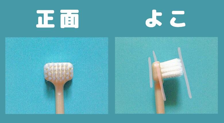 《画像》デッキブラシ型歯ブラシ正面とよこ