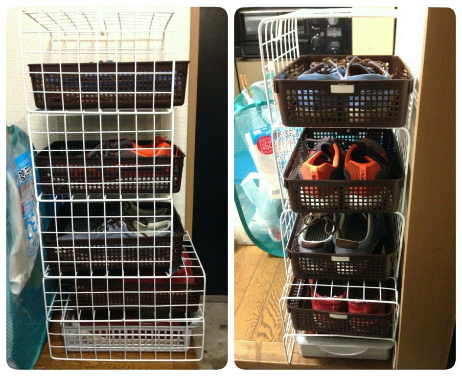 《画像》ワイヤーネットで作ったメンズ靴の収納